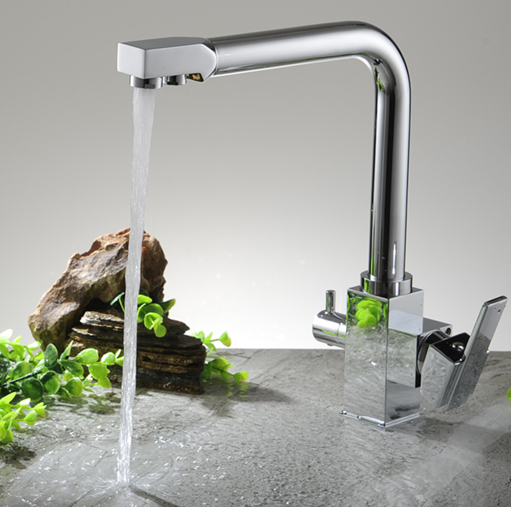 online buy wholesale kitchen water faucet from china kitchen water chrome plated brass kitchen faucet cold hot water faucet kitchen with pure water faucet multifunctional sink