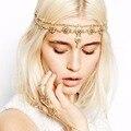 Pearl Tassel Flower Stretch Headband Women Fashion Party Wedding Crystal Bridal Hair Accessories Gold A2