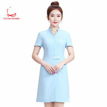 2019 spring and summer new beautician work clothes female technician dress hotel receptionist