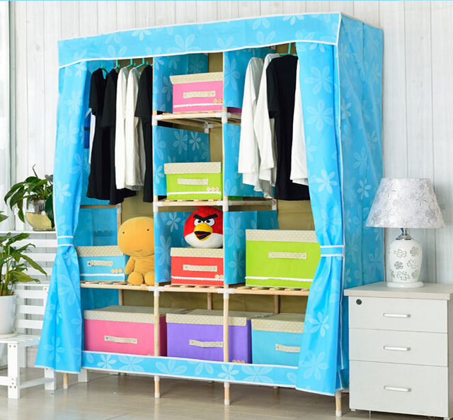 Large Bedroom Furniture Solid Wood Wardrobes Cabinets Portable Folding  Store Content Ark Reinforce Steel Cloth Armoire