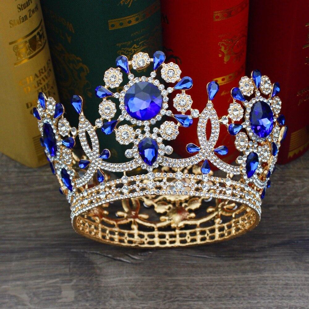Superbe cristal or Baroque mariage mariée diadème couronne mariée casque femmes bal diadème décoration cheveux bijoux accessoires