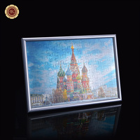Spilled Blood Church In Russia Gold Foil Painting For Home Decoration Colorful Puzzles With Silver Frame