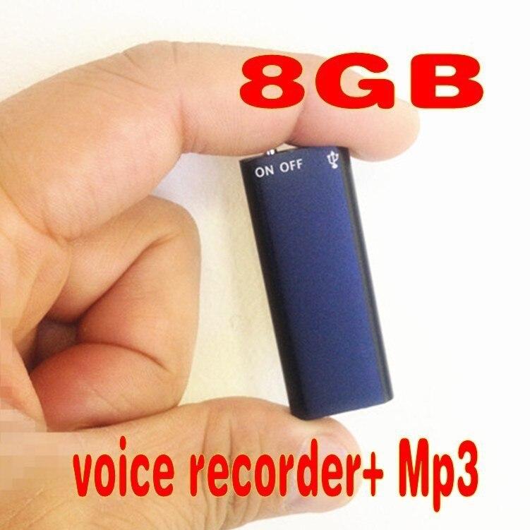 Новое поступление! легкий вес, и маленький, 2 в 1 Мини 8 ГБ 8 г Цифровой Аудио Голос Регистраторы 13 часов + Mp3 Бесплатная доставка ...