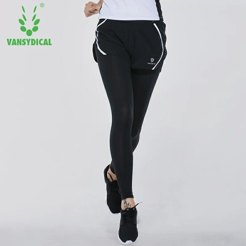 Strumpfhosen Vansydical High-taille Yoga Hosen Frauen Strumpfhosen Elastische Quick Dry Lauf Fitness Sport Leggings Training Jogging Gym Bottoms