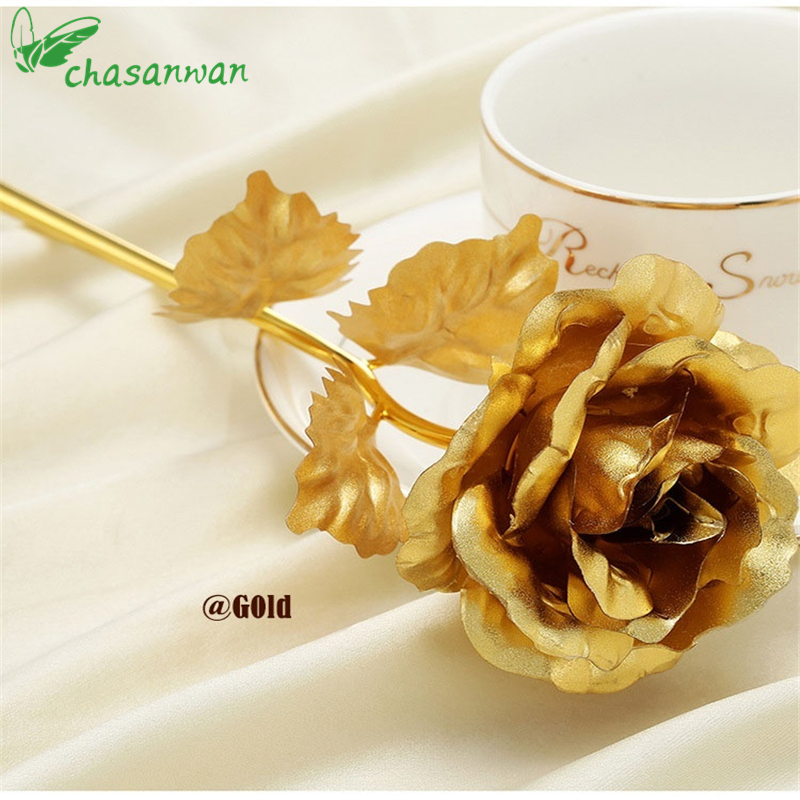 1Pcs Home Decoration Flowers Valentines Day Gift 24K Gold Plated Rose Flower Romantic fo ...