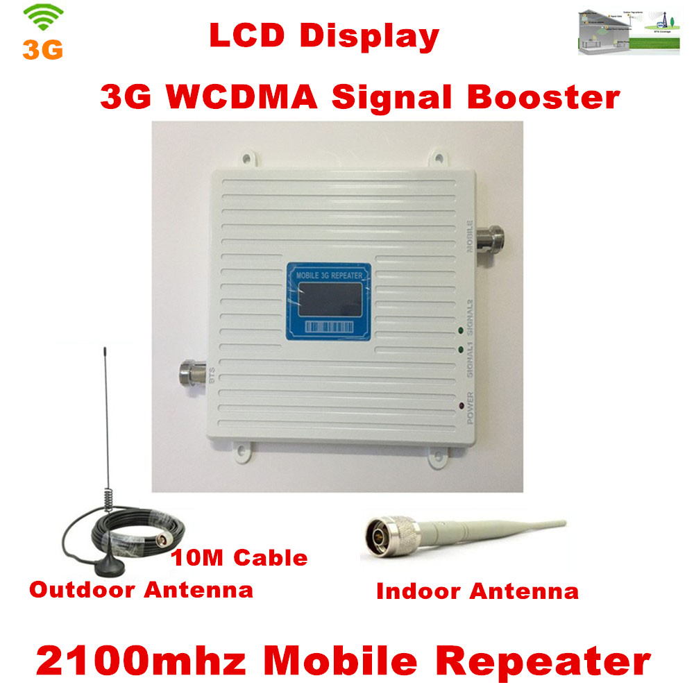 LCD Display !!! 3G Repeater 2100Mhz Mobile Phone Signal Booster Outdoor Antenna With 10 Meters Cable Indoor Antenna 1 Set