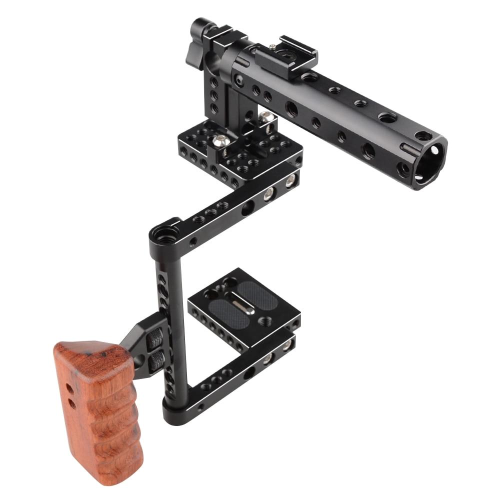 CAMVATE DSLR Camera Cage Top Handle Wood Grip for Canon 600D 70D 80D camvate dslr handle camera grip wooden handgrip right hand for arri alexa extender arm shoulder support system c1321