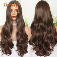 Oxeely Natural Brown Wave Synthetic Hair Wigs #10 Long Wavy Hair 6 Deep Parting Heat Resistant None Lace Wig for Women