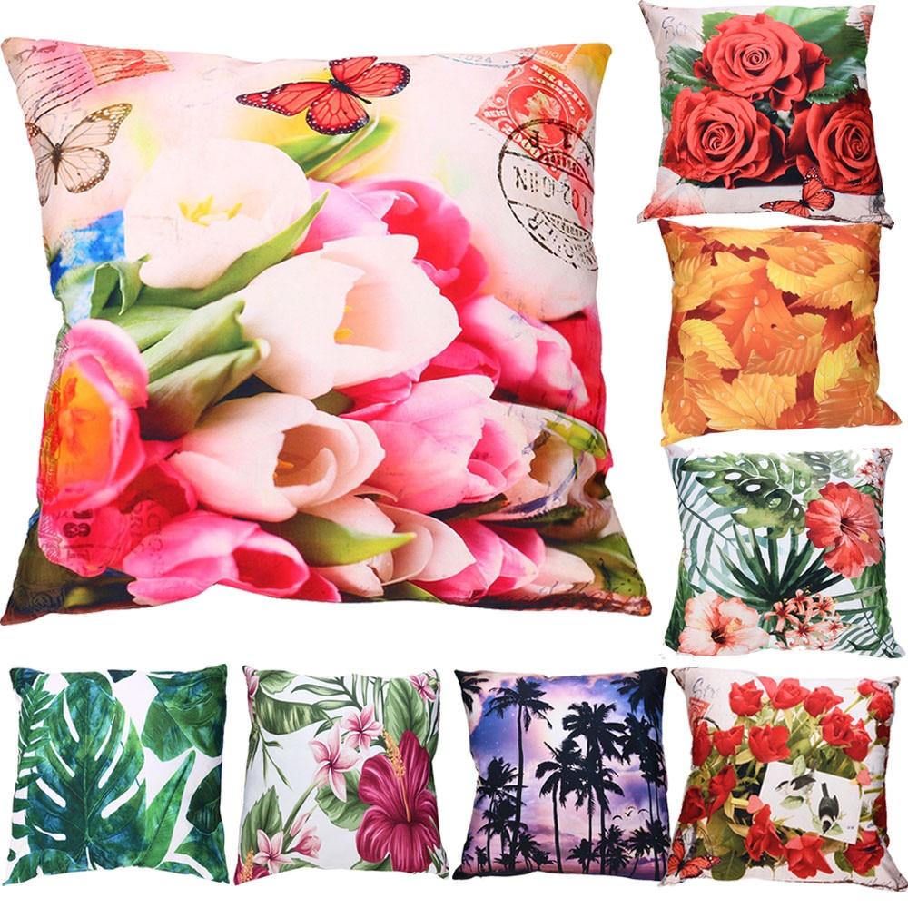 Мода Цветы Листья Печатных Чехлы для подушек красивая сцена Пледы Наволочки для Гостиная Спальня диван Автокресло # BF