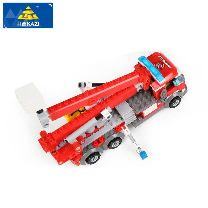 KAZI 8053 Children Blocks Fire Truck Model Blocks Assembled Building Blocks DIY Bricks Playmobil Educational Toys For Children