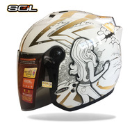 SOL Motorcycle Helmet Motorcycle Scooter Helmet Moto Open Face Summer Half Helmet Motor Helmets And Clear Lens