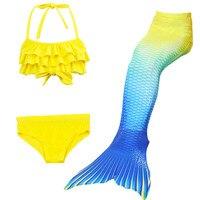 2017 Kids Girls Mermaid Tail Suit Little Mermaid Tails Children Swimmable Swimsuit With Bikini Fancy Dress