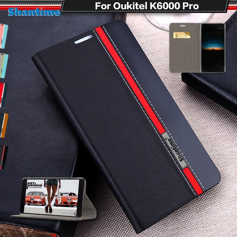 Couverture de Cas du livre Pour Oukitel K6000 Pro De Luxe PU En Cuir portefeuille Flip Cas Pour Oukitel K6000 Pro De Silicium Souple Retour couverture
