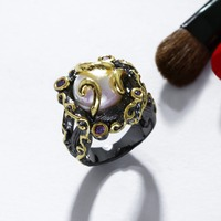 High Quality Black Gold Plated Fresh Pearl Rings Made With AAA Cubic Zirconia Wedding Party Birthday