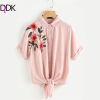 DIDK Pink Tie Front Cuffed Sleeve Embroidered Blouse Women S Lapel Collar Short Sleeve Casual Blouse