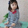 Crianças Bebê Meninas de Algodão Da Listra de Manga Longa Macio Arco-nó Vestido 1-6A
