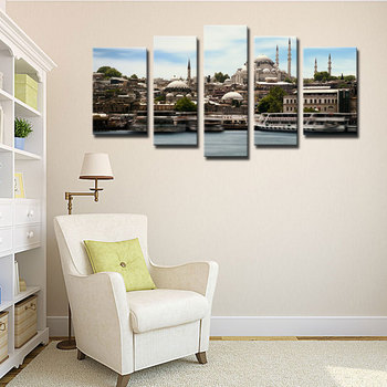 5 Picture Combination Giclee Paintings Canvas Prints Wall Art Artwork For Decor Mosque Istanbul Islam