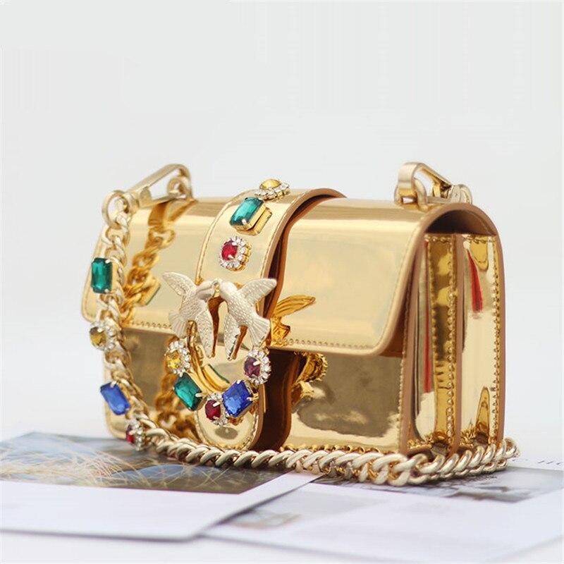 ゴールドダイヤモンドチェーンストラップゴールデン光沢のある本革ハンドバッグファンシーダイヤモンドリベットパールチェーンショルダーバッグメッセンジャーバッグルイバッグ  グループ上の スーツケース & バッグ からの ショッピングバッグ の中 1