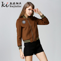 High Quality Casual Women Wool Jacket Double Side 100 Wool Baseball Short Jacket Female Coat Spring