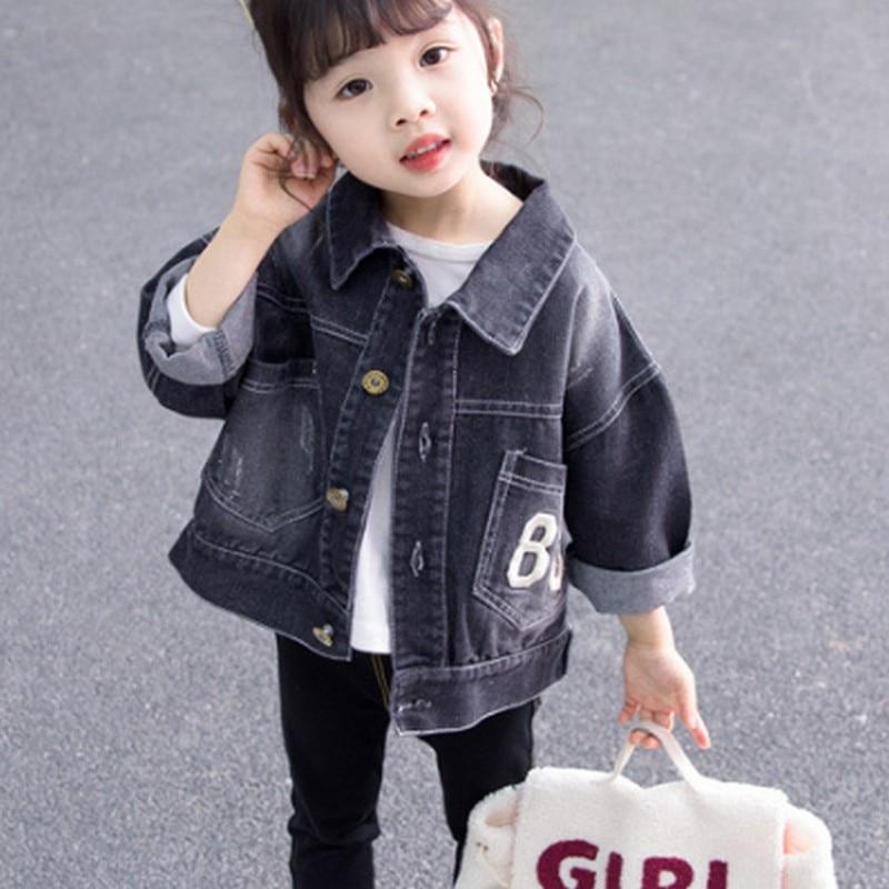 Джинсовая куртка с вышивкой с надписью для девочек, весенне-осеннее Детское пальто для девочек Детская куртка для маленьких девочек модная корейская детская куртка - Цвет: Черный