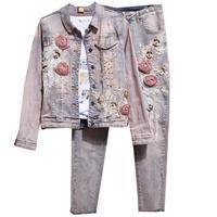 Beading flower Denim Set Casual Vintage Sequins Stretch Sexy Jeans Suit Female Denim 2 Piece Set womenJeans Suits