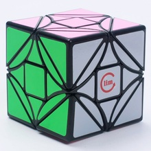 Funs Fangshi LimCube Cut Version Dreidel 3x3x3 Magic Cube Puzzle Black And White And Pink Learning