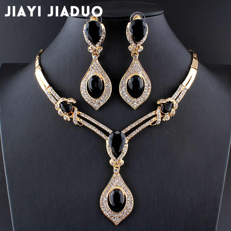 jiayijiaduo American fashion wedding jewelry sets Gold-color Charm women summer clothing accessories days blue crystal wholesale
