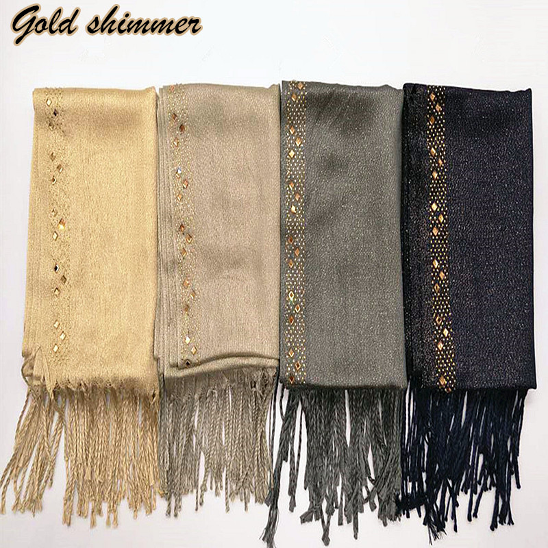 1PC Women Gold Shiny Scarf Diamond Tassels Shawls Soft  Gorgeous Muslim Hijab Woman Scarves Pashmina Hot Sale Muffler