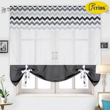 Flying Tulle Curtain with Printing Waves Colors designs Heavy Cloth Window Curtain for Kitchen Window and Small Window