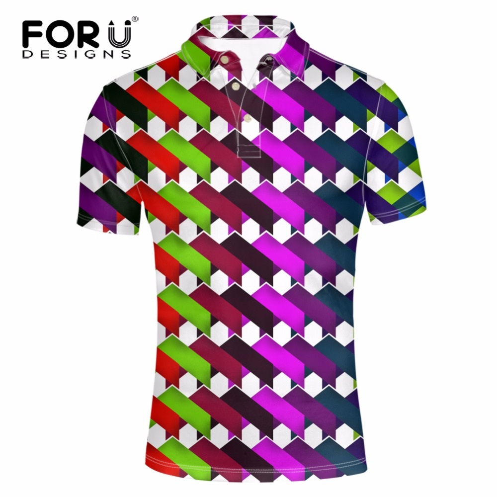 FORUDESIGNS Summer Mens Polo Shirt Short Sleeve Geometric ...