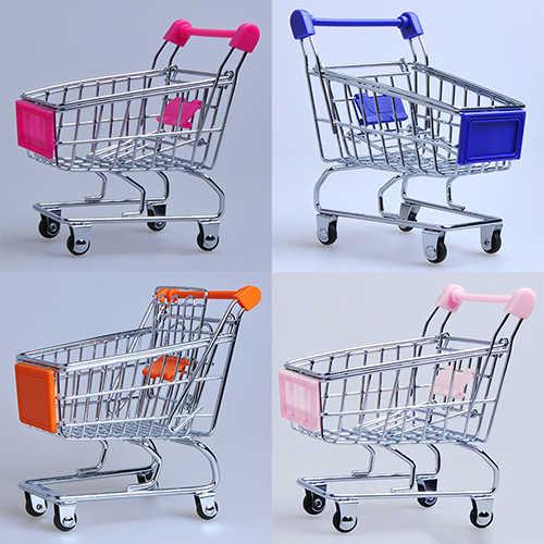 Bebé juguete pretende supermercado Carro de mano Mini carro de compras decoración de escritorio de almacenamiento de juguete de regalo de muñecas, accesorios de muebles