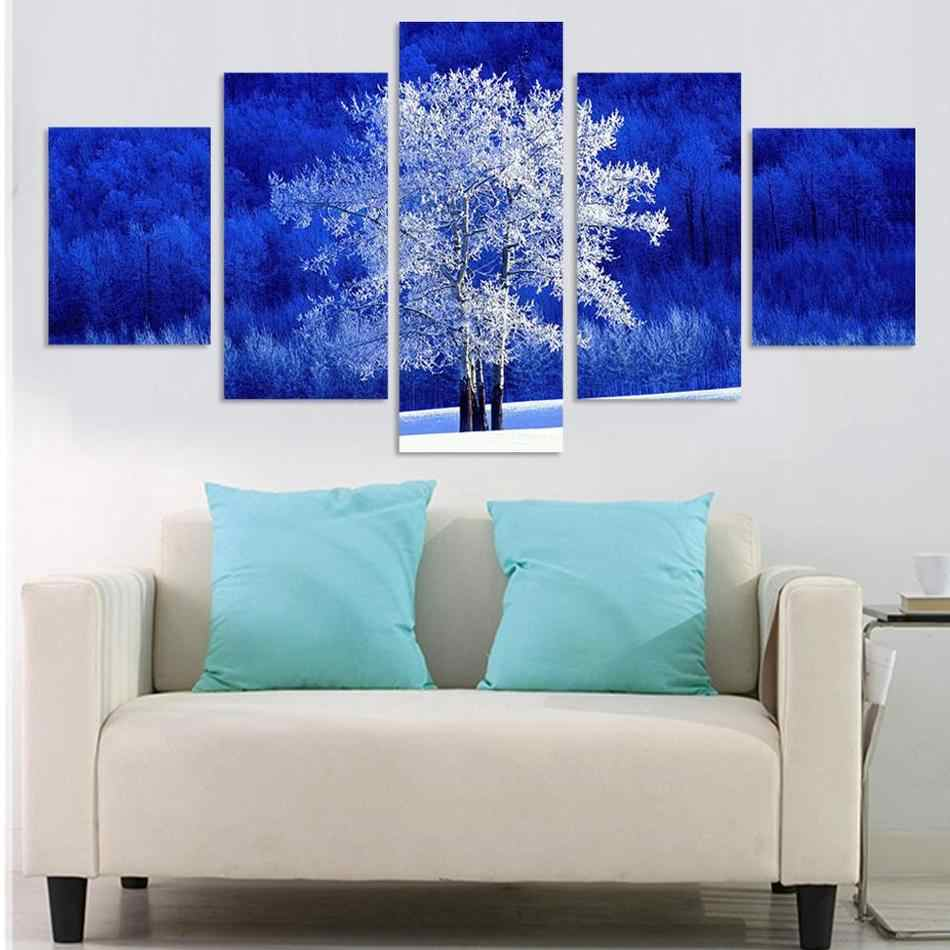 5 Pieces White Tree Scenery Modular Wall Pictures Painting On Canvas Blue Background Landscape Home Decoration For Living Room