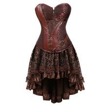 Steampunk korsett kleid viktorianischen leder pirate overbust bustiers korsetts röcke für frauen partei exotic fashion plus größe braun