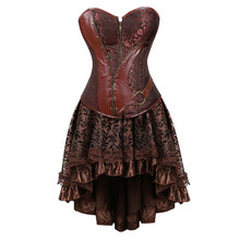 steampunk corset dress victorian leather pirate overbust bustiers corsets skirts for women party exotic fashion plus size brown