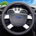 Mão-de Couro Preto costurado Tampa Da Roda de Direcção Do Carro para Ford Kuga 2008-2011 Foco 2