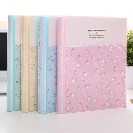Beautiful Flower Display Book Clear File Folder A4 School Booklet 30/40/60/80 Pockets Transparent Bag Book