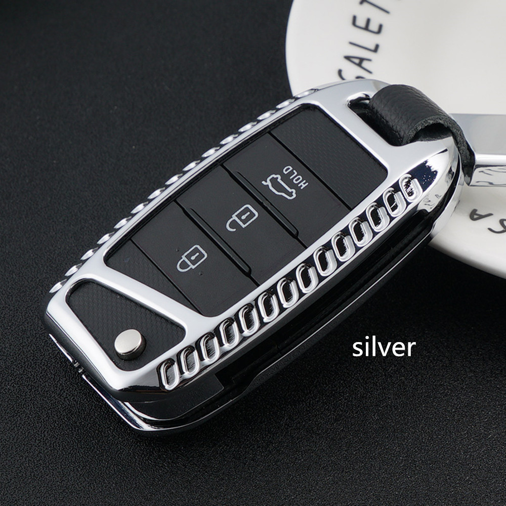 Car Key Case Cover Galvanized Alloy car accessories For Kia Rio K2 Sportage 2017 2018 Ceed Optima K5 Cerato K3 K4 Sorento Carens zinc alloy luminous car remote key case cover for kia rio k2 optima k5 sportage 2017 2018 ceed sorento cerato k3 k4 accessories