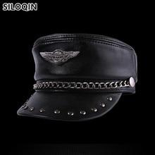 SILOQIN натуральная кожа шляпа элегантные воловья кожа военные головные уборы для мужчин и женщин персональная хип-хоп кепка s Snapback Кепка плоская кепка унисекс