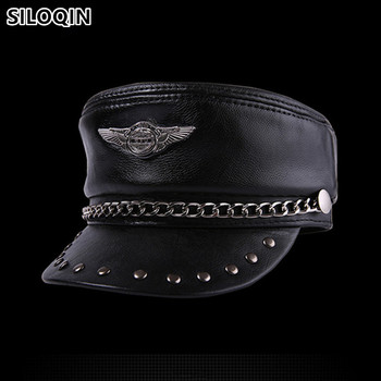 SILOQIN Genuine Leather Hat Elegant Cowhide Military Hats For Men Women Personality Hip-hop Caps Snapback Cap Flat Cap Unisex siloqin new winter men s genuine leather hat thicken warm cowhide leather baseball caps with ears dad s hats snapback brands cap