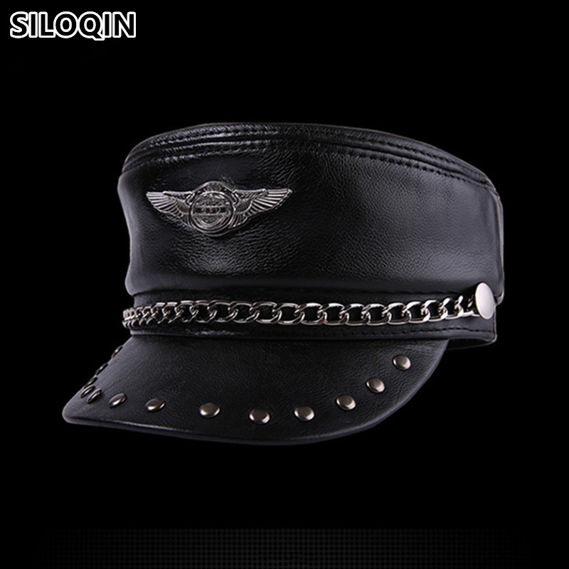 SILOQIN Genuine Leather Hat Elegant Cowhide Military Hats For Men Women Personality Hip hop Caps Snapback Cap Flat Cap Unisex
