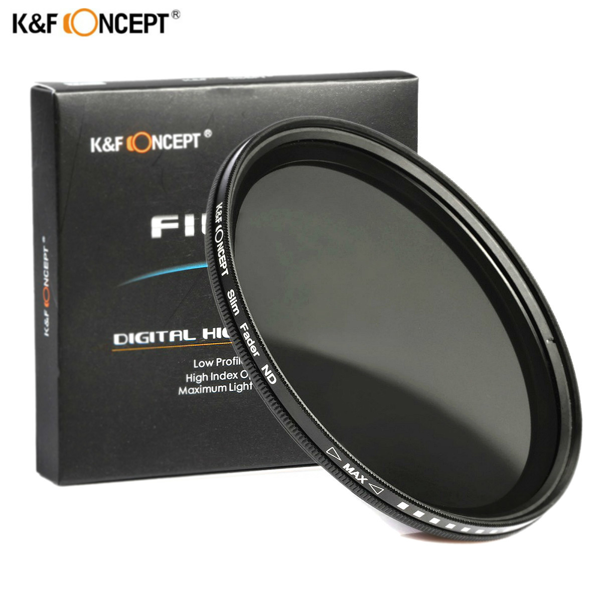 K&F CONCEPT 52MM 55MM 58MM 62MM 67MM 72MM 77MM Slim Fader Variable ND Lens Filter Adjustable ND2 to ND400 Neutral Density nd2 400 variable nd filter for 62mm lens camera black transparent
