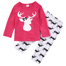 CANIS Brand Cotton Kids Clothes Set 2PCS Xmas 1-5T Baby Girl Kids Nightwear Pajamas Pjs Sleepwear Outfits Clothes Set NEW