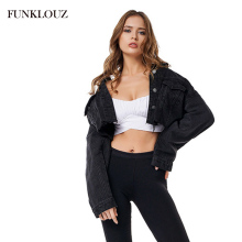 FUNKLOUZ Autumn Black Frayed Hem Ripped Crop Denim Jean Jacket Women Drop Shoulder Long Sleeve Ladies Short Coat недорого