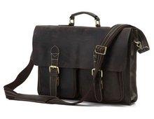 цены Free Shipping Mens Leather Bag Leather Briefcase Portfolios Laptop Bag Messenger Bag  #7105R