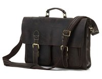 Mens Leather Bag Leather Briefcase Portfolios Laptop Bag Messenger Bag 7105R