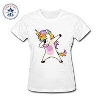2017 Newest Fashion Funny Girls Dabbing Unicorn Colorful Cotton Funny T Shirt Women