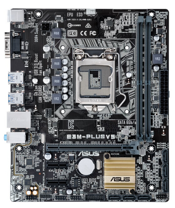 ASUS E3M-PLUS V5 C232 chipset small board DDR4 support E3-1230 V5 85%-95%NEW 2piece 100% new up6615a3 qfn chipset