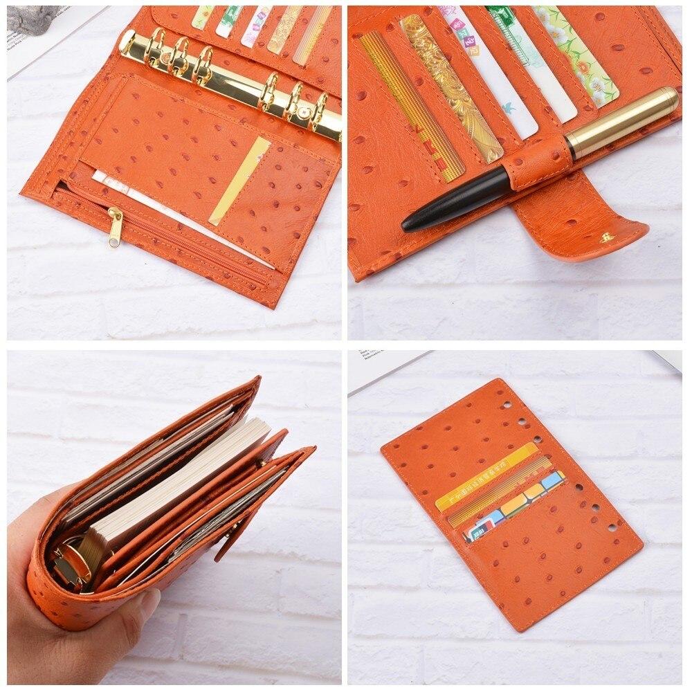 Carnet de notes en cuir véritable à la main en cuir de vachette à la main Agenda en spirale Agenda Journal carnet de croquis avec poche d'argent - 6