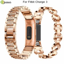 Купить с кэшбэком Crystal Rhinestone Watch strap Stainless steel Bracelet For Fitbit Charge 3 Wristbands Replacement Smart Watch Band wrist bands