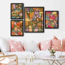 Canvas Wall Art Prints Minimalism Pictures Colorful Abstract Stained Glass Flower Painting Living Room Nordic Poster Home Decor(China)